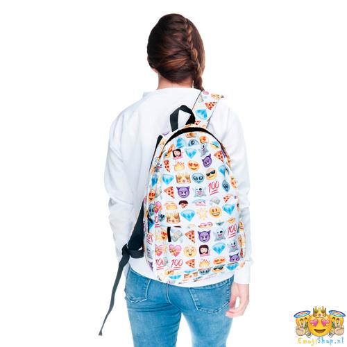 Witte-Princess-Emoji-Rugtas-model-achterkant