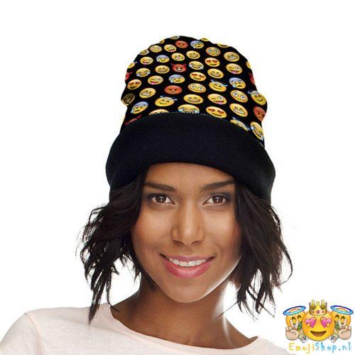black-emoji-beanie-model