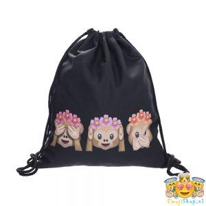 floral-monkeys-emoji-touwtjestas-zwart-voorkant